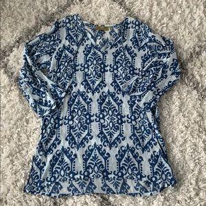 Rock Flower Paper blue beach coverup tunic dress